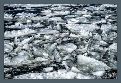 Broken iced river
