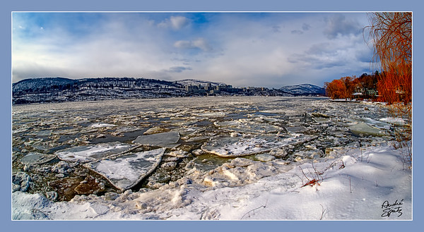 Icy Hudson across from West Point, NY.