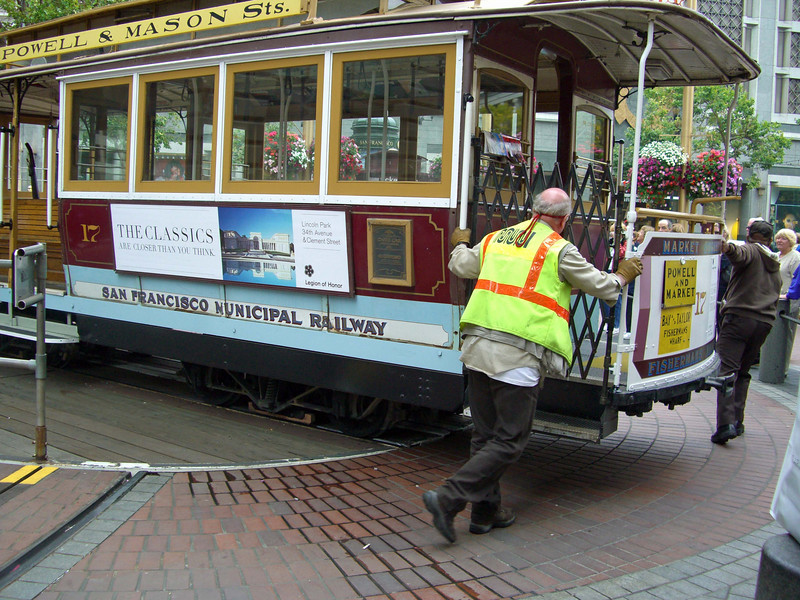 At the end of the line, the San Francisco trolley is turned around to travel the opposite direction.