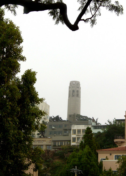 Coit Tower in the fog of San Francisco