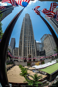 Rockefeller Plaza and Building on Flag Day 2012