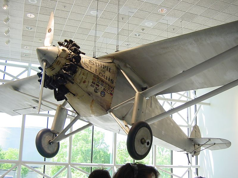 The Spirit of St. Louis, flown by Charles Lindberg on the first SOLO flight across the Atlantic Ocean.