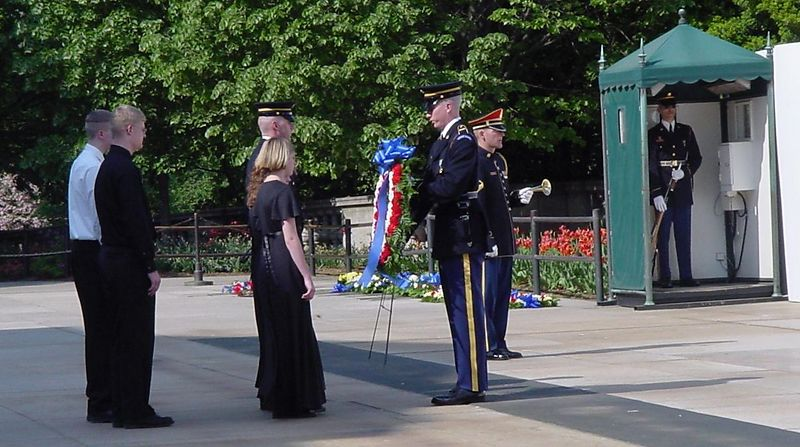 Ceremony at the Tomb of the Unknown Soldier.