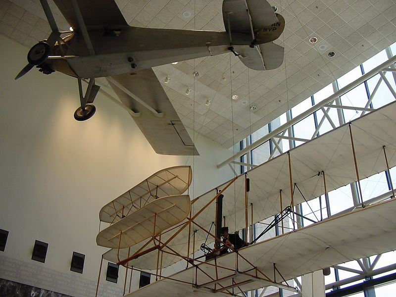 The Wright Brothers plane and the Spirit of St. Louis.