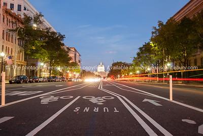 Street scene to the Capitol,  at dusk Washington DC