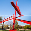 Structure of red steel beams by Mark di Suvero outside the Hirshhorn Museum at the Smithsonian Institute in Washington DC