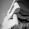 Architecture of National Museum of American Indian in monochrome.