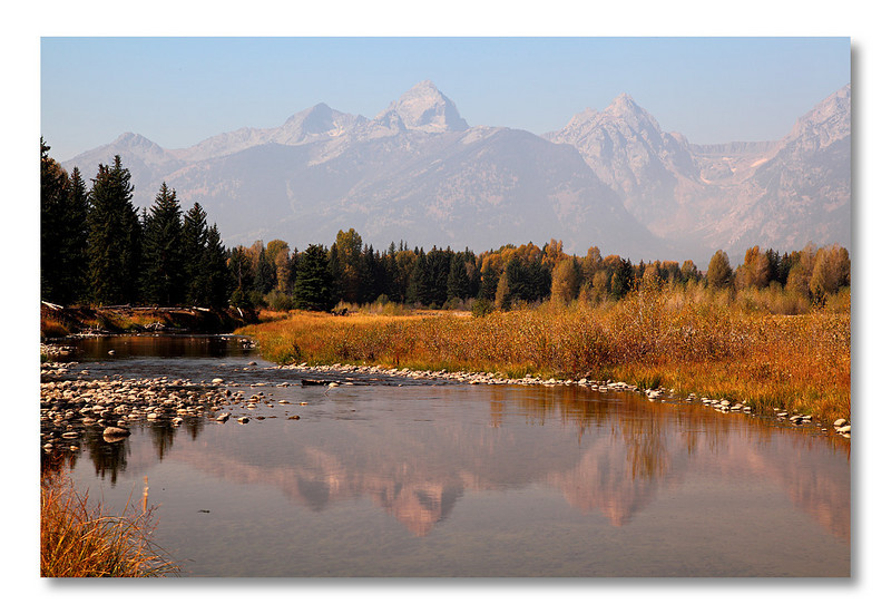 Grand Teton reflection, Schwabacher Landing, Grand Teton NP.<br /> A photographer's dream place...if you are able to come at sunrise. I was too lazy, as usual.
