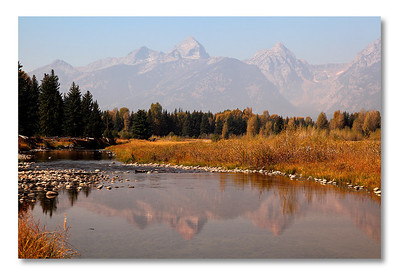 Grand Teton reflection, Schwabacher Landing, Grand Teton NP. A photographer's dream place...if you are able to come at sunrise. I was too lazy, as usual.