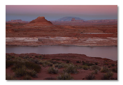 Lake Powell (Glen Canyon, Page AZ).  We arrived late and drove along the shore. BEAUTIFUL. Cecile, thank you!