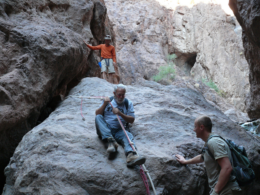 All three guides from Nellis AFB Outdoor Adventures in one place! Ty on top, Greg rappelling down, and Drew at the bottom.