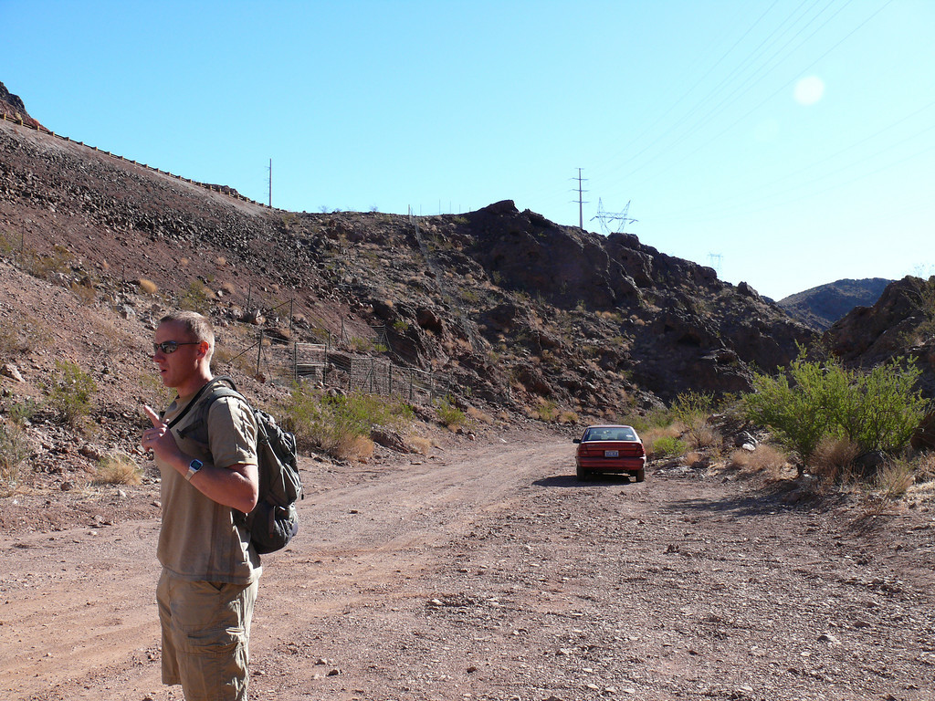 Drew, from Nellis AFB Outdoor Adventures, counts group members before our Goldstrike Hike from Boulder City, NV into a canyon that will take us past several hot springs and down to the Colorado River on the South side of Hoover Dam.