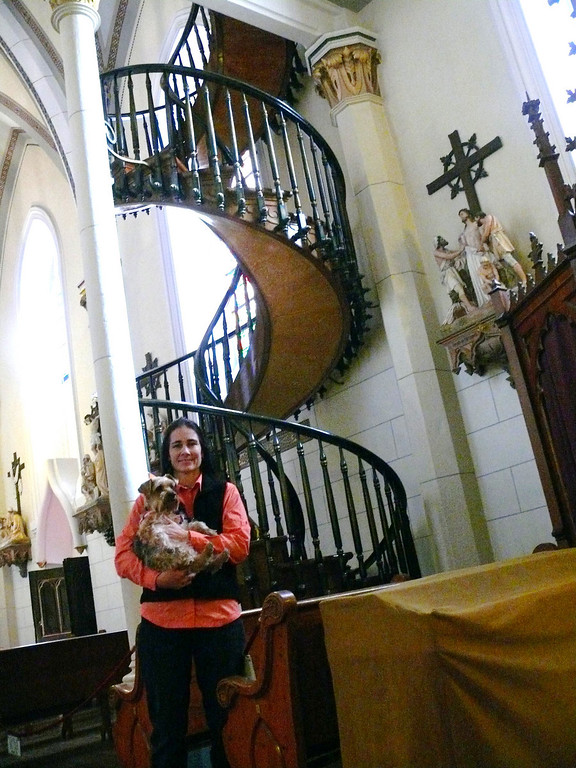 Cheryl and Shadow at foot of The Staircase, WOW!!!! They even let us take Shadow inside the Chapel!!!!!!