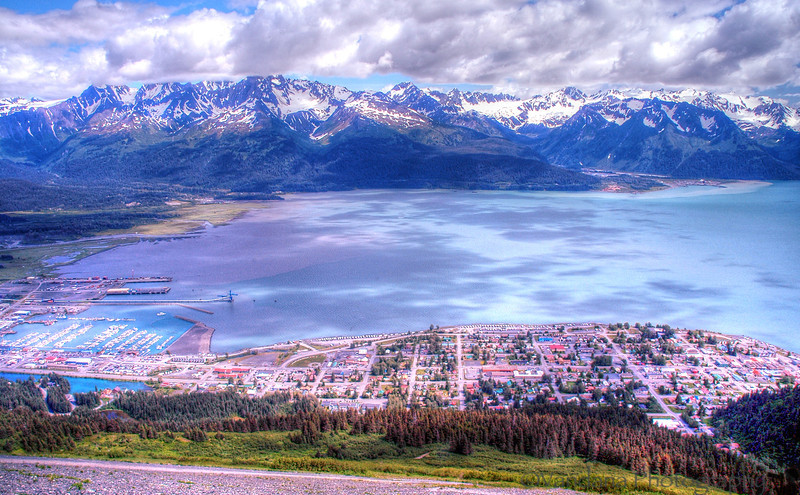 Seward from the top of Mt.Marathon - I do reach the top, literally scrambling on rocks..it is so widely traversed, that there're thousands of trails..and well, easy to get lost first time up