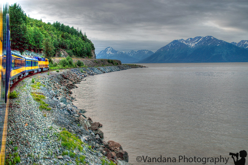 the alaska railroad train on Turnagain arm - if you lean across from the window just enuf ..
