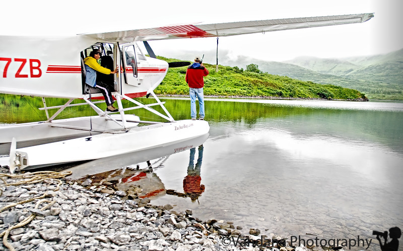 After two hours at Fraser lake, Vandana gets on board the float plane, ready to leave for Kodiak Island, Alaska