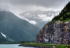 Took the detour off Seward Highway to Whittier, but stopped just short of the Whittier tunnel. This is the favored viewpoint for the Portage Glacier.