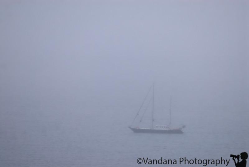V spots a far-off ship sailing the waters off Kodiak at Monashka Bay.