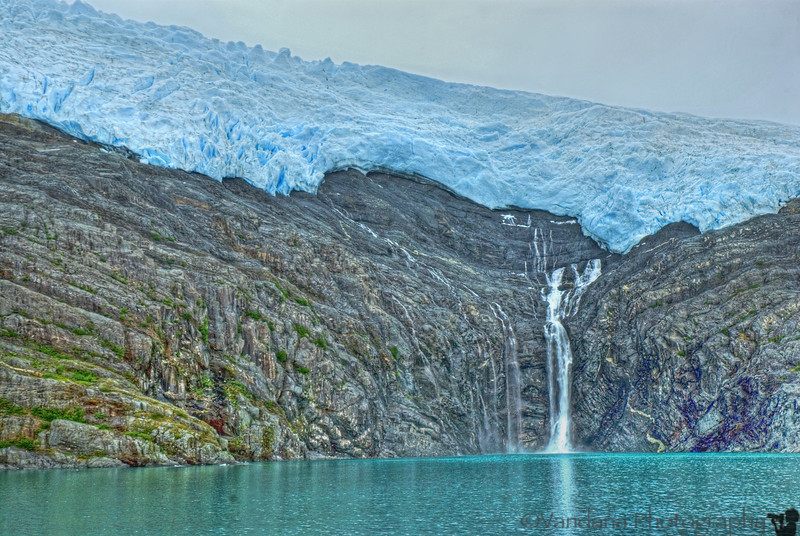 One of the many glaciers comes into view.
