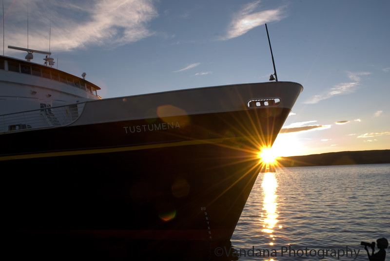 Sunset way past midnight!<br /> <br /> That's our ship Tustumena, getting ready to leave Sand Point.