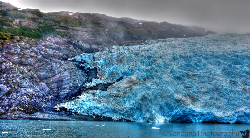 Once upon a time not too long ago, the glacier actually covered all of the black rock. You can see it receding here.