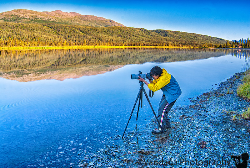 Photographing the photographer - at Paxton Lake on Denali Highway
