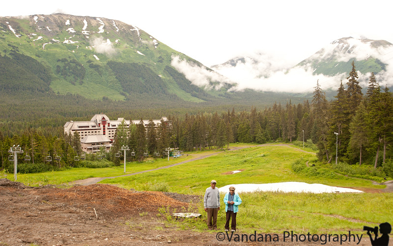 There's a trail behind the Alyeska resort that gradually ascends up a mountain. Or you can take the cablecars to the very top. We hiked a bit to work off the hearty breakfast.