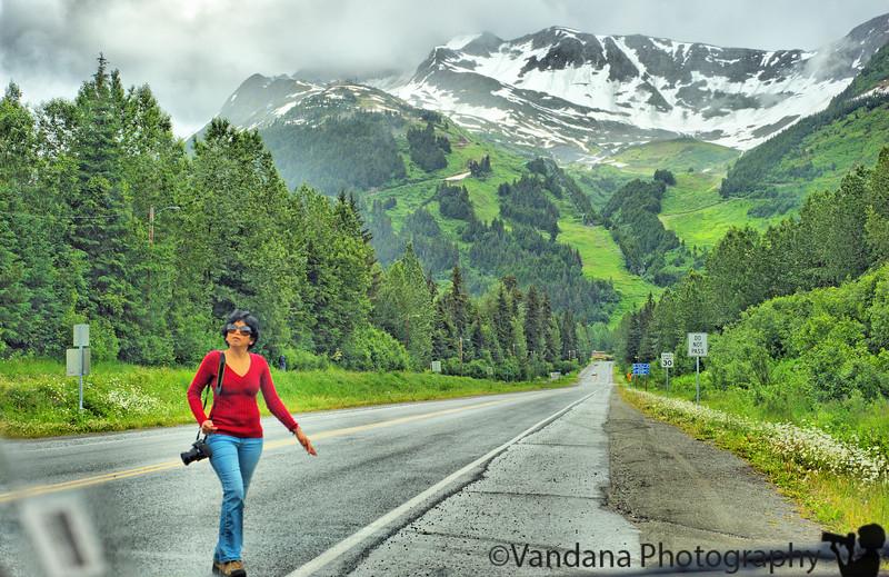 V comes back after looking at a roadside glacier