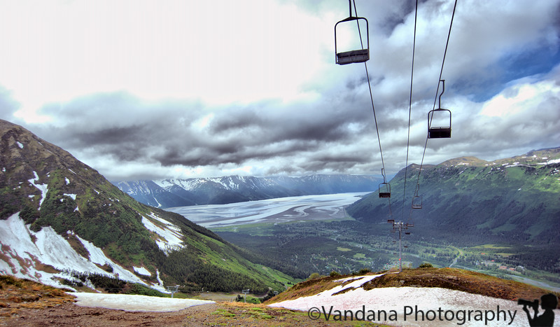 """July 5, 2010 - After a breakfast at Alyeska, <a href=""""http://www.alyeskaresort.com/resort/about-aerial-tram.aspx"""">we take a tram to the top of Mount Alyeska</a>. The senior citizens get a substantial discount. Ahead of us in the queue, a large Indian group loudly computed their ages from their birthdays wondering if they qualified. The arithmetic was hilarious."""