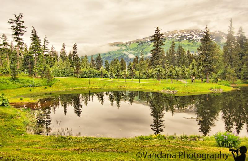Reflections make for great photo-ops, Aleyska Resort, Girdwood, AK
