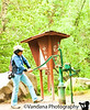 V plays around with the waterpump at the Twin Peaks trailhead.