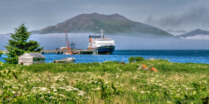 MV Tustumena docks at False Pass, Aleutian Islands, Alaska