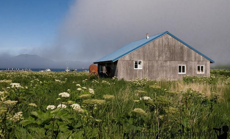 Off-the-grid houses in False Pass, Aleutian Islands, Alaska