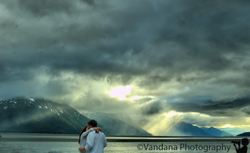 On the way back to Anchorage, noticed a dramatic change in the skies. A newly wedded couple in their honeymoon RV parked beside us & next thing you know, this picture happened.