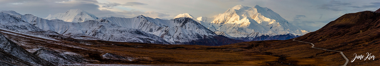 Denali peak in the morning light. View from Stony Overlook at Denali National Park