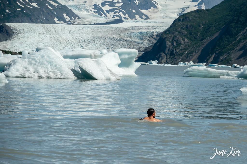 Swimming in the Grewingk Glacier Lake