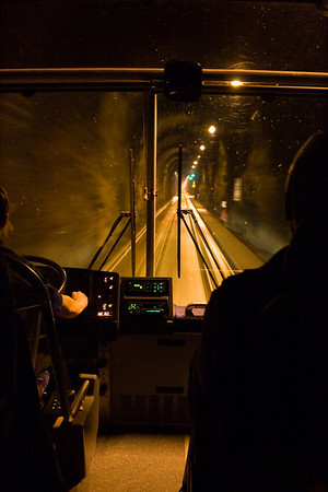 Driving through the Whittier tunnel, the longest highway tunnel in North America (13,300' or 2.5 miles).  Traffic flows only in one direction which alternates during the course of the day.