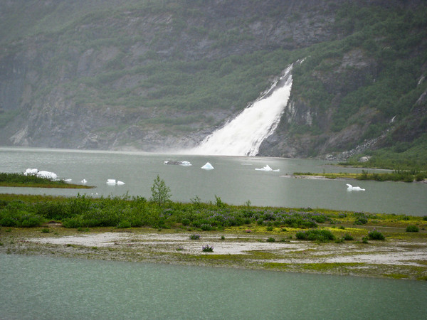 Waterfall by Mendenhall Glacier (Juneau)