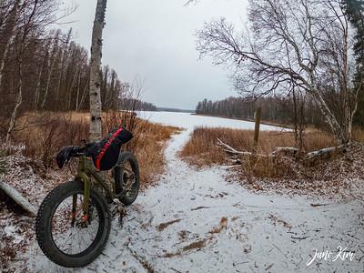 Stephen's bike along the X Lake Red Trail