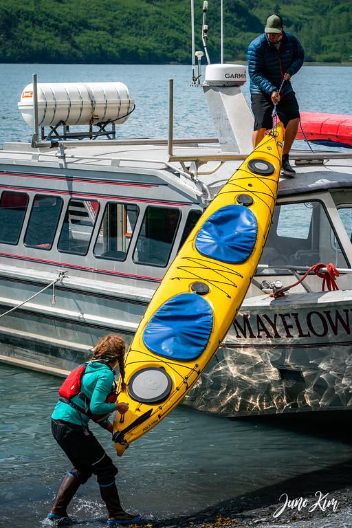 Preparing kayaks