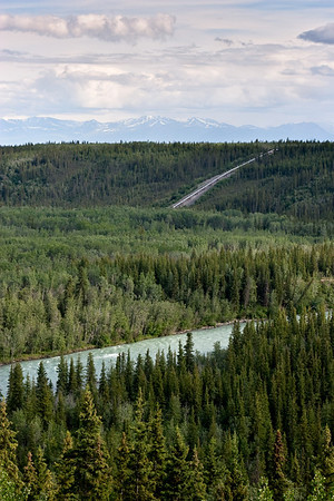 View from Princess Copper River Lodge. The Copper River is in the foreground and the Alaska pipeline is in the distance.
