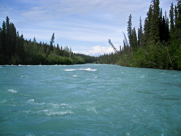 The fishing trip involved rafting through class 3 rapids on the Klutina River