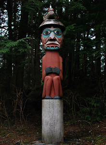 Man Wearing Bear Hat Totem, Totem Bight Park, Ketchikan