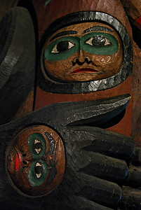 Details of poles in Clan House, Totem Bight Park, Ketchikan