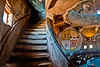 Staircase and Hopi murals inside Desert View Watchtower