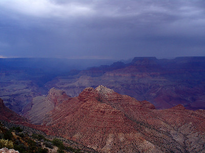 Clearing storm clouds over the Grand Canyon.