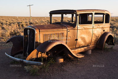Stranded car in Petrified Forest National Park