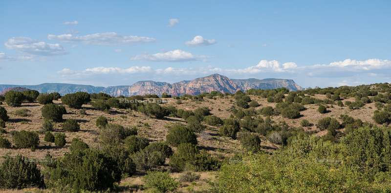 Distant view of the red rocks of Sedona