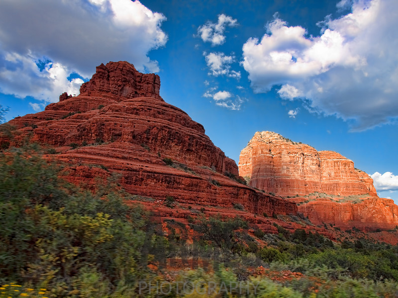 Bell Rock in the foreground and Courthouse Rock behind, Sedona, Arizona