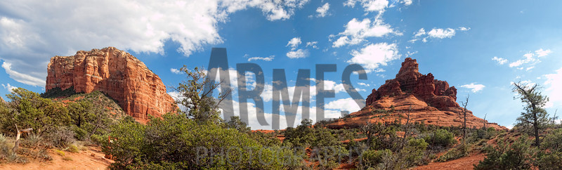 Panorama of Courthouse Rock and Bell Rock, Sedona, Arizona (four images stitched)
